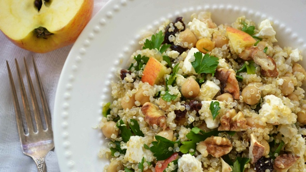 Quinoa salad with chickpeas, feta and apples, by Julie Van Rosendaal