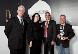 Pictured from left to right are: Reint-Jan Dykstra, vice-president of the Dairy Farmers of Canada (DFC);  Caroline Émond, executive director of the DFC, and Wally Smith, president of the DFC with Jean Morin from the Fromagerie du Presbytère (QC), whose Laliberté cheese was named Grand Champion  at a gala event in Toronto on April 22.