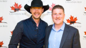 Country music superstar Paul Brandt was on-hand to help celebrate Canadian Beef, shown here with Canada Beef president, Rob Meijer.
