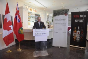 Ontario Minister of Agriculture, Food and Rural Affairs Jeff Leal at Bacardi Canada Inc.