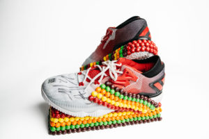 A basketball shoe from Kyle Lowry, covered in Skittles