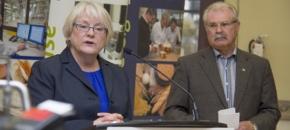 JoAnne Buth , CIGI's CEO, and Gerry Ritz, minister of Agriculture, announce funding of $15 million to Cigi.