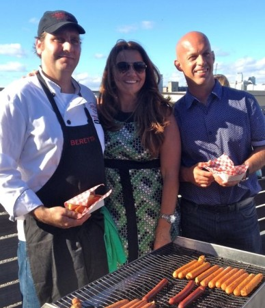 (right to left) Mike Beretta, Cynthia Beretta and Tobias Pohl-Weary (Beretta Kitchen's Executive Chef) at the Beretta organic hot dog launch