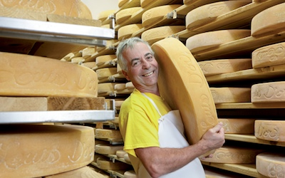 Jean Morin with his award-winning Louis d'Or cheese.