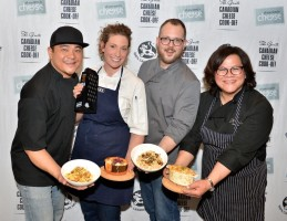 This year's competitors at the Grate Canadian Cheese Cook-Off included Chef Thompson Tran, Chef Alexandra Feswick (winner!), Chef Andrew Farrell, and Chef Nicole Gomes