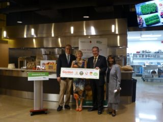 L to R: Greenbelt Fund CEO Burkhard Mausberg, vice-president of Gordon Food Service Ontario Lisa MacNeil, Ontario's Minister of Agriculture, Food and Rural Affairs Jeff Leal and local MPP Indira Naidoo-Harris